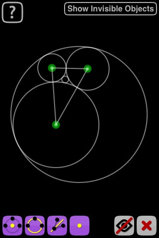 Apollonius is the first (and so far the only) Interactive Geometry Software (IGS) for the iPhone and iPod Touch. It allows you to make geometric constructions (such as those made using a compass and straightedge/ruler) and move their parts smoothly using the device's touchscreen.