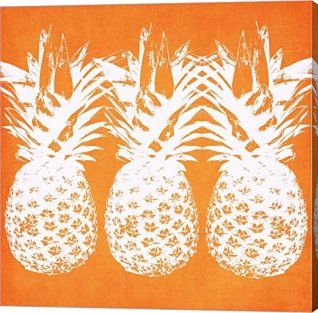 Orange wall art is the perfect type of fall wall art to use  in your home.  In fact fall canvas art is  especially trendy this time of year.   Whether it be an orange wall clock, orange canvas art or even orange  wall hangings you will find something perfect to decorate your home for  #autumn.       Orange Pineapples by Linda Woods Canvas - orange wall decor