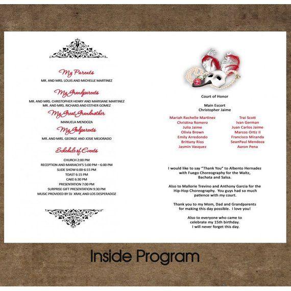 Sweet 15 Or Sweet 16 Program Programa Personalized Folded Card 5x7 Any Theme Phantom Opera Set Of Quinceanera Program Ideas Sweet 15