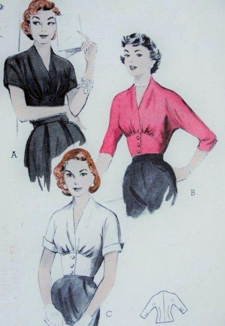 1950s Beautiful Blouse Pattern Surplice V Neckline, Button Up Empire Midriff…