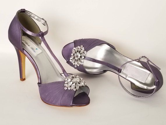 Lilac Wedding Shoes Lilac Bridal Shoes T Strap Bridal Shoes Purple