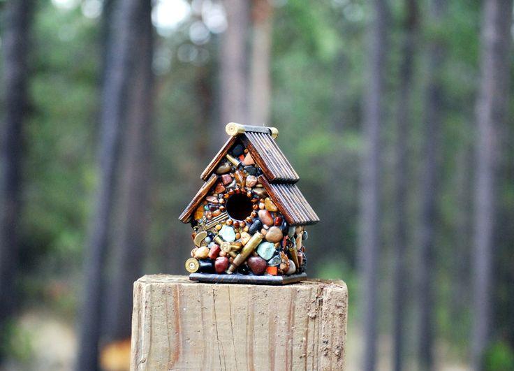 birdhouse for him Recycled Bullet Shell Birdhouse for Hunters from Oregon mosaic birdhouse man cave decor guns firearms outdoor decor #etsyshop