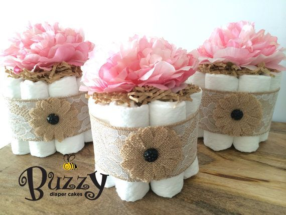 Find out about Set of three Shabby Stylish Lacey Burlap with Peony Flower Topper Child Woman Bathe Mini Diaper Cake Centerpiece