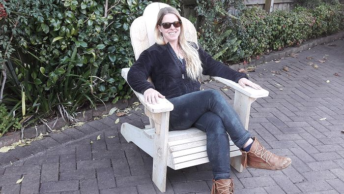 Julie in her Adirondack chair