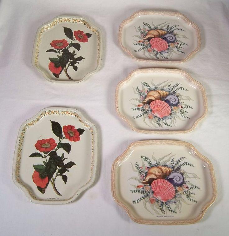 Vintage ELITE Metal Trays - Lot Of 5 - Seashells / Hibiscus Made in England #Elite