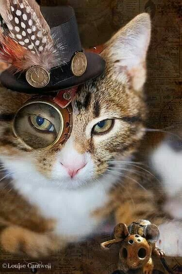 Steampunk kitty with mouse.