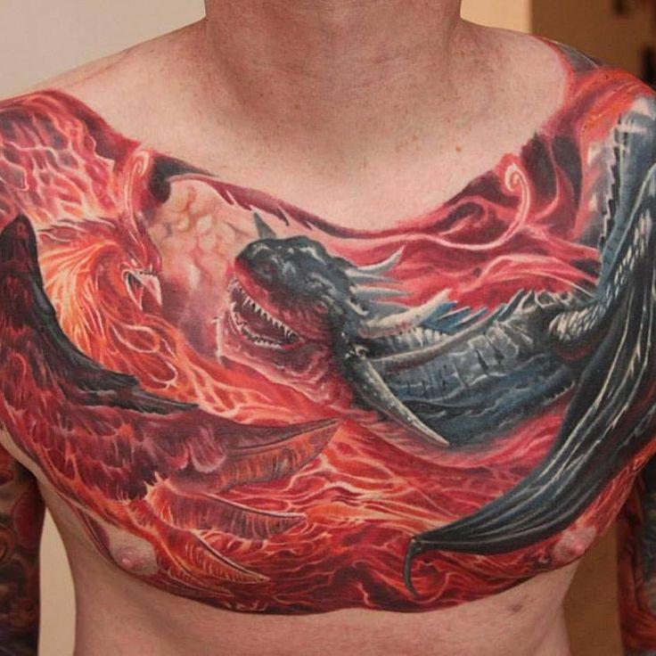 Front part of phoenix and dragon piece boris realistic