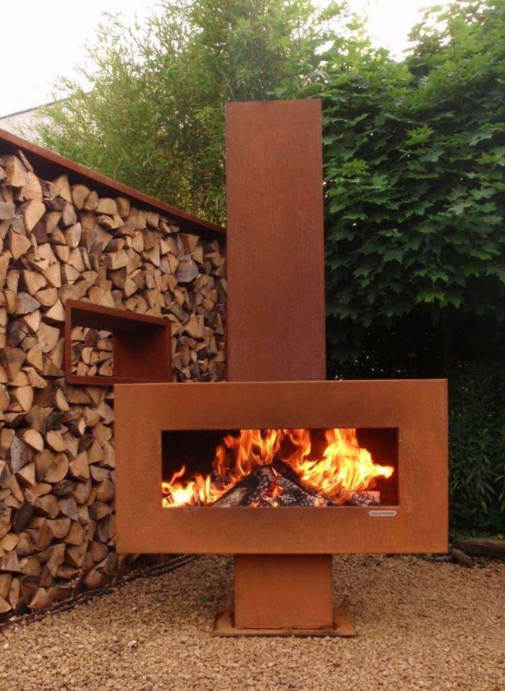 cheminée extérieur en acier corten pour le jardin
