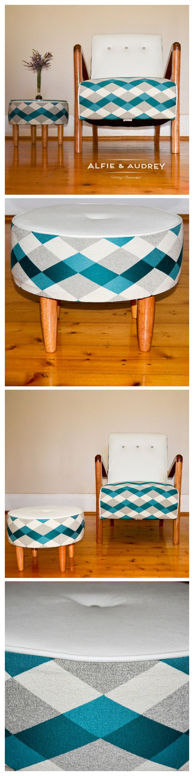 Our Stirling chair has a neat new footstool/side table online now @ www.alfieandaudrey.com.au