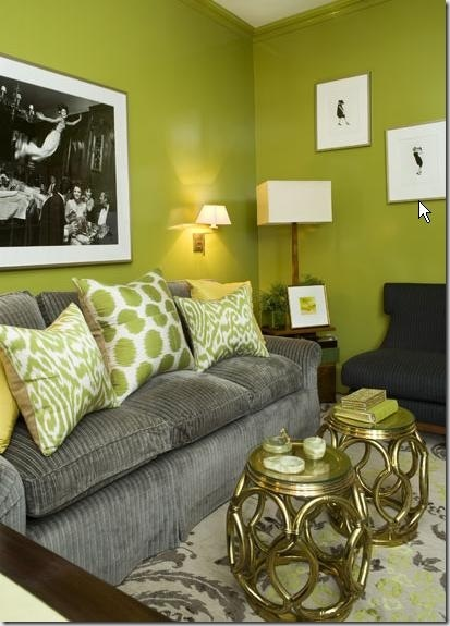 Gray + Black + Lime Green color palette. Not liking the couch but colors are pretty fab!