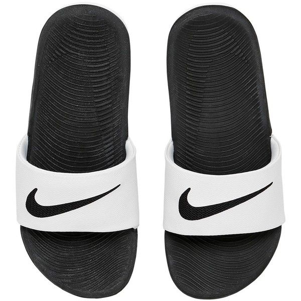 Nike Kids-girls Kawa Slide Rubber Sandals (355 MAD) ❤ liked on Polyvore featuring white