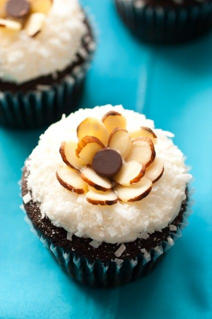 Chocolate Almond Joy Cupcakes with Coconut Frosting and Almonds