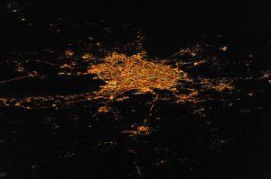 Санкт-Петербург из космоса ночью
