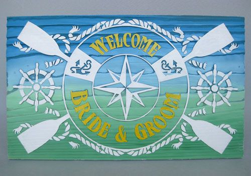 海を渡る大航海のシンボルのイラスト(コンパス、ライフリング、操舵輪)と錨、パドル等の海の代表的な絵柄をバランス良く配置したデザイン。 #海 #船 #ウェルカムボード