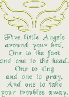 "Angel wings and halo above a beautiful little quote. Looks gorgeous framed or on a cushion. Finished size is approx 5.06 x 7.02"" with 2919 sticthes ​Includes PES, JEF, VIP, VP3, XXX, HUS, EXP, DST formats and stitch chart."