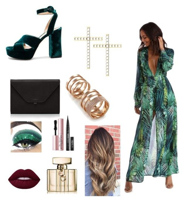 💚 by mariastoica on Polyvore featuring polyvore fashion style Gianvito Rossi Valextra Repossi Gucci Too Faced Cosmetics clothing