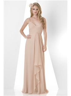 Central Coast Bridesmaid Glorious Dress Spaghetti Straps Pleated Bodice A Line With Long Chiffon Skirt