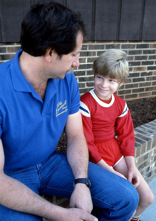 Junior and his father would become only the third father-son pair to win the Daytona 500, joining Lee and Richard Petty, and Bobby and Davey Allison. Here the two sit outside their Mooresville, N.C., home in 1984.