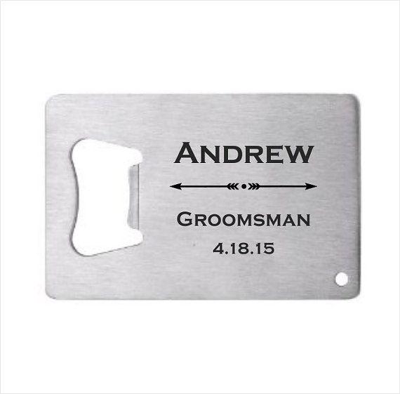 30 of Personalized Stainless Steel Credit Card Bottle Opener, engraved bottle opener wedding favor, groomsman gift, personalized party favor #danishandmadewedding