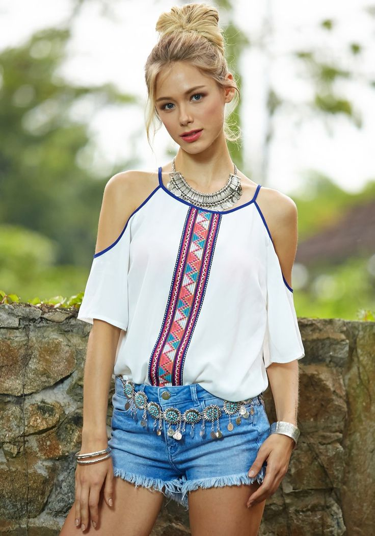Tribal Print Cold Shoulder Top... LOVE THIS. Lots of my friends have been wearing off the should tops. I've been wondering if I can pull it off!!!!