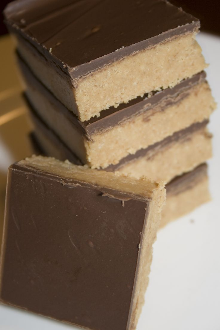 Peanut Butter Bars. No bake, 5 ingredients, and 10 minutes to make.