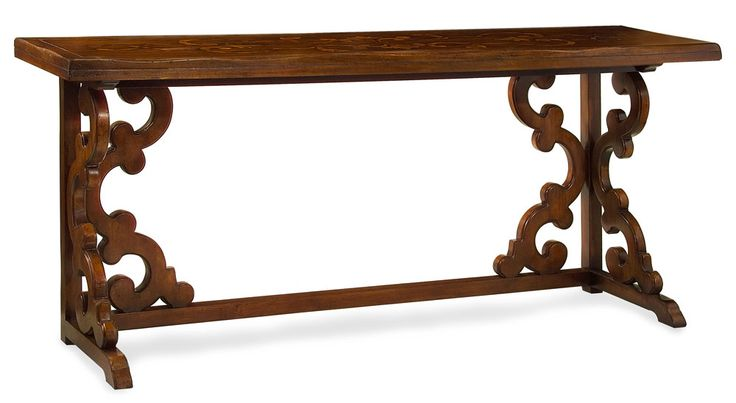 Консоль выполнена в тосканском стиле из древесины ореха в античной отделке.             Материал: Дерево.              Бренд: John Richard.              Стили: Классика и неоклассика.              Цвета: Коричневый.