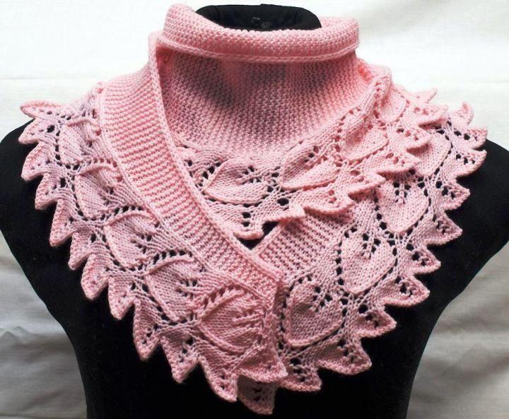 Chalinas con hojas a palito y crochet. | Entre Lanas e Hilados