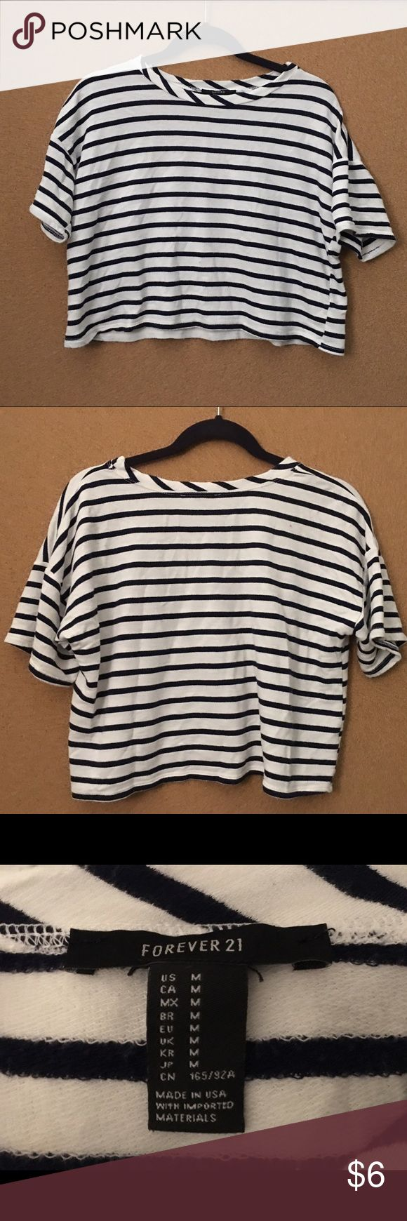 Super Soft Slouchy Stripe Crop Top This extremely soft slouchy crop top is perfect for the casual look. The stripes are navy blue and white. I can't explain how soft this shirt is! Your item will come ironed and washed to perfection. Forever 21 Tops Crop Tops
