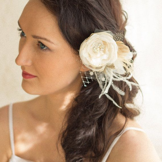 Wedding hair piece, Lace hairpiece, Bridal headpiece