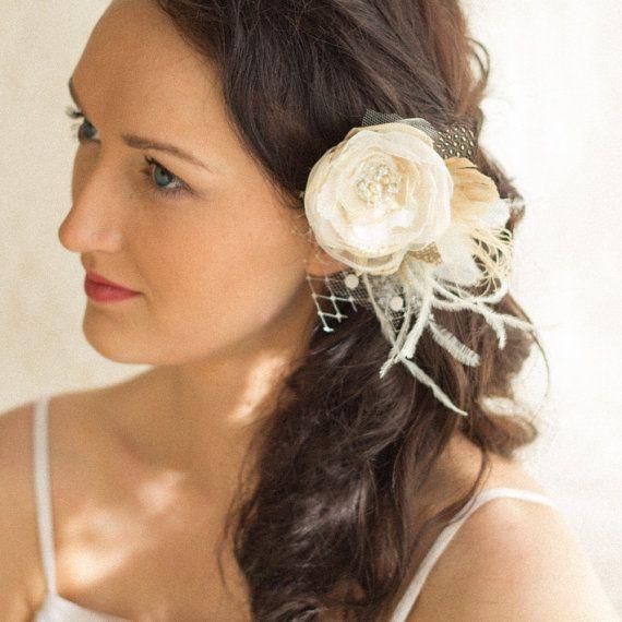 Morceau de cheveux de mariage morceau de cheveux par LeFlowers