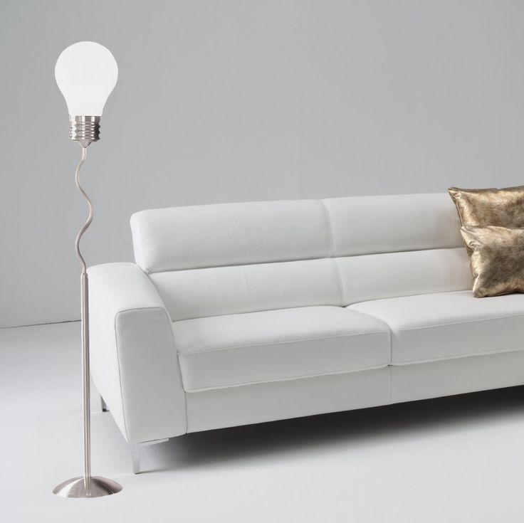 Lampadaire+en+nickel+mat+avec+1+grosse+ampoule+en+verre+dépoli+en+guise+de+spot+à+équiper+d'une+ampoule++E27+fluo+ou+led