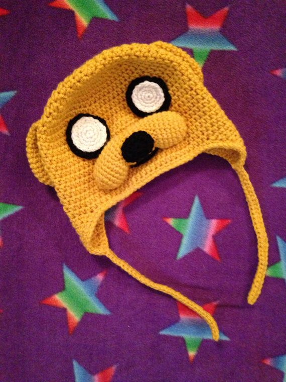 Jake the Dog crocheted hat Part of an Adventure Time series I'm working on. You can purchase the Jake the Dog hat from my Etsy shop here: www.etsy.com/uk/listing/204974…