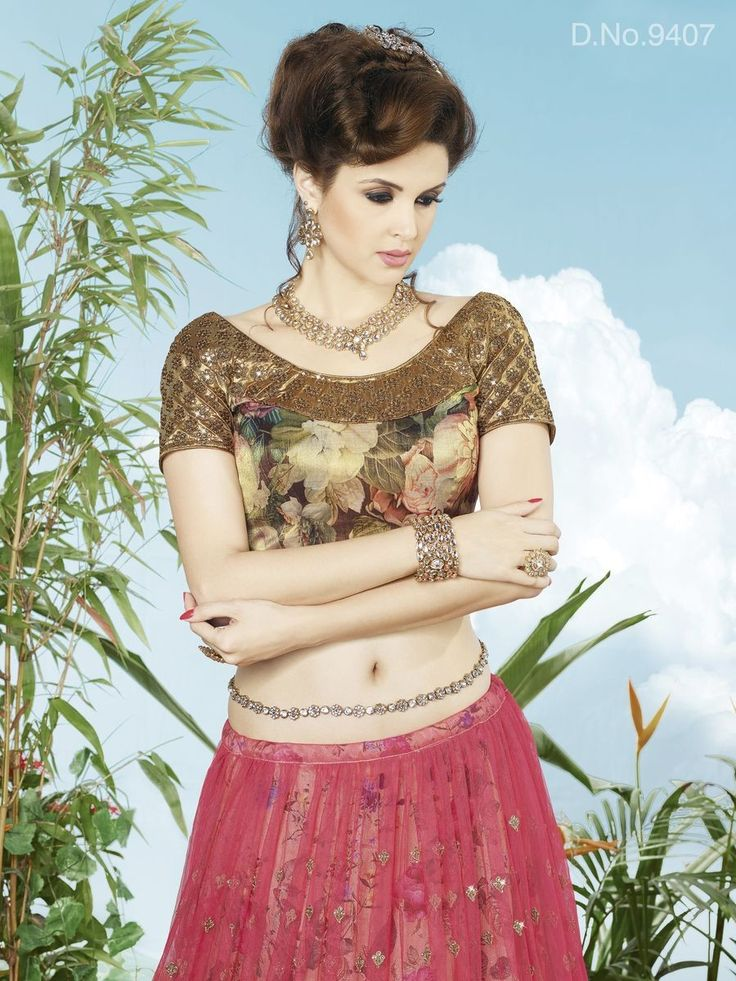 Pink Net Embroidered Semi-Stitched Lehenga
