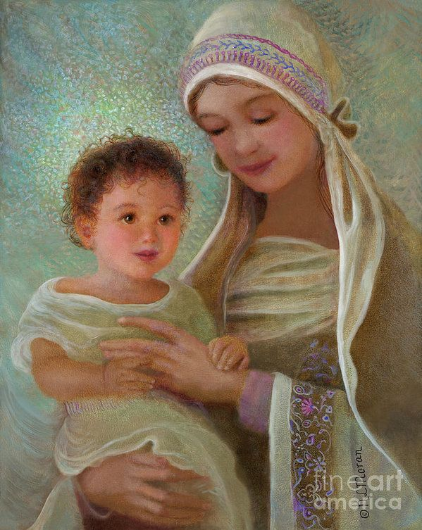 Sweet Grace Madonna And Child Print by Nancy Lee Moran.