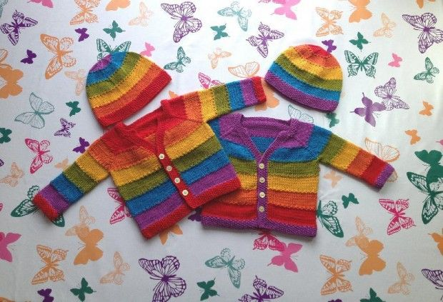 Top 5 rainbow knitting patterns: Equality Stripe baby cardigan by Bex Hopkins
