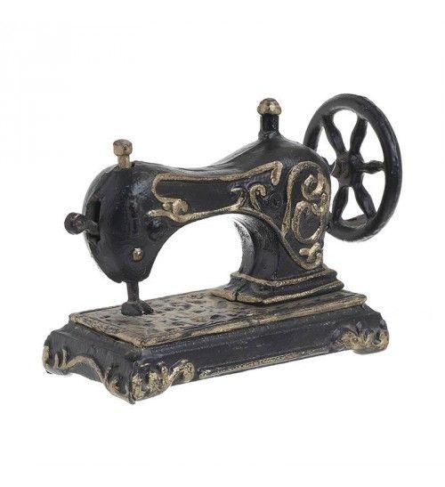 METALLIC SEWING MACHINE IN BLACK_GOLDEN 18X6X12