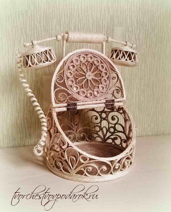 Ретро-телефон своими руками из джута