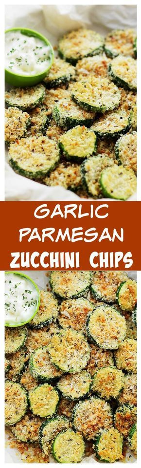 Baked Garlic Parmesan Zucchini Chips | www.diethood.com | Crispy and flavorful baked zucchini chips covered in seasoned panko bread crumbs with garlic and Parmesan Cheese.