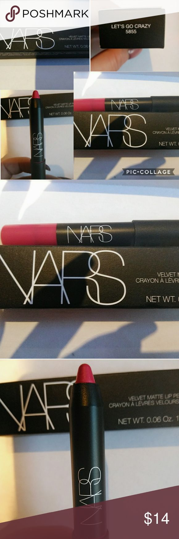 BNIB NARS 'Let's Go Crazy 5855' matte lip pencil Brand new in box Nars velvet matte lip pencil in (Let's Go Crazy 5855)1.8/0.06oz  has not been used and only taken out of box for these photos. A beautiful color just not the color for me.  ***Bundle and Save*** NARS Makeup Lipstick
