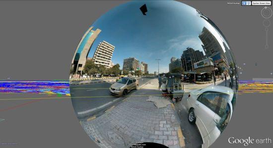 """Nombre de la Obra: """"Google Street Glitch"""" desde """"Do Not Use As Art"""" .  El autor de esta obra Frére Reinert (1973), es un artista franco holandés que se define un GoogleTrotter. Fascinado por la plataforma online de Google Earth, Reinert lleva años buceando en la red, para capturar las imágenes de los """"bodegones digitales de Google Earth"""" y dar forma a su personal galería de instantáneas surrealistas y desestructuradas."""