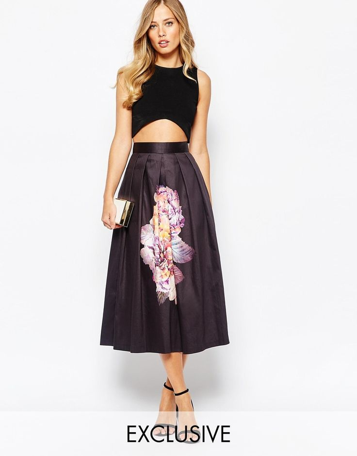 Closet Full Sateen Midi Skirt In Overscale Floral Print