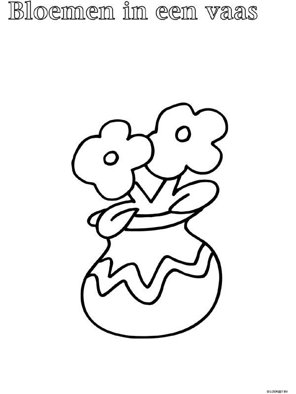 Kleurplaat Peuter kleurplaat vaas - bloemen - Kleurplaten.nl
