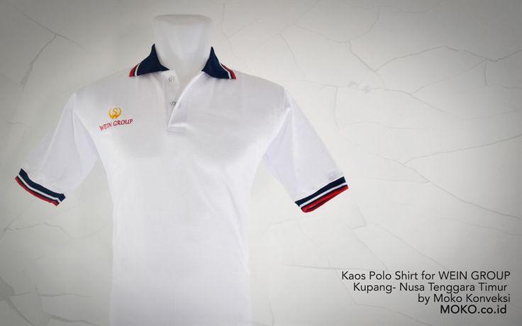 Kaos Polo Shirt WEIN GROUP [Kupang - Nusa Tenggara Timur] Polo shirt dengan desain custom ini cukup simple dengan aksen warna kontras pada kerah dan manset. Yang membuatnya terlihat tidak terlalu polos dan tidak terlalu ramai. Tepat untuk memberikan kesan kasual yang membuat anda lebih dinamis | Kaos Seragam baju Polo Shirt Warna Putih