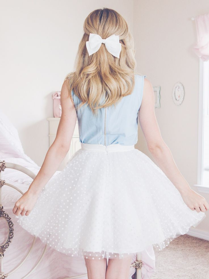 Spring Wardrobe Ready With These New Feminine Pieces, polka dot skirt, white black dots, hair bow, hair bow hairstyles, blue blouse, spring outfit, spring style