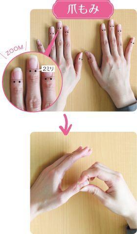 神経線維が集まる爪の生え際も、自律神経に働きかけやすいポイントです。反対の手の親指と人差し指でギュッとつまみ、10秒以上かけて刺激。両手のすべての指に行いましょう(1日2、3セットが目安)。強いストレスを感じている人は、顔、頭、爪の3カ所をもみほぐすことで、リラックス効果を感じられます。 上記の点が押すポイント、爪の生え際から2ミリくらい下のところを刺激します