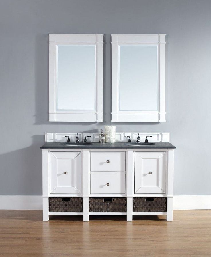 "<p>The 60"" Madison  Double Vanity Cabinet- Cottage White by James Martin Furniture features a sleek transitional style. Behind each of two doors are shelves for storage. Two drawers are placed in the center of the vanity for additional storage. The Satin Nickel finish hardware is showcased on this beautiful furniture piece. Indoor/outdoor resin Wicker storage baskets and matching decorative wood backsplash are included.</p>"