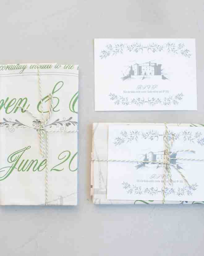 The invitations were printed on tea towels from Wedding Tea Towels for a touch of English flair. Designed with a personalized image of the castle, they were tied with twine and Mad Libs-inspired RSVP cards and sent out in envelopes lined with olive green tissue paper.