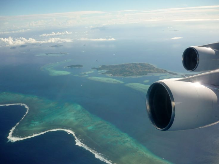 Looking down on departure from Fiji at the glorious reefs below. #fiji #travel #fromtheair ✈️