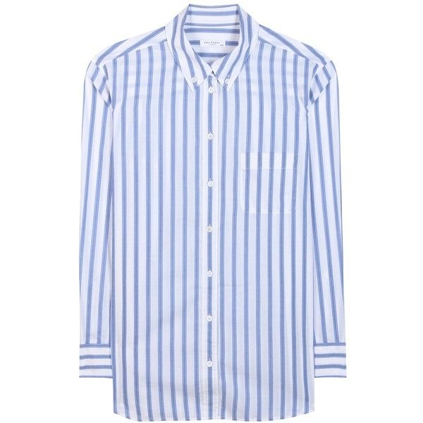 Equipment Margaux Striped Cotton Shirt found on Polyvore featuring tops, shirts, white, shirt top, white cotton tops, striped shirt, white stripes shirt and equipment shirts