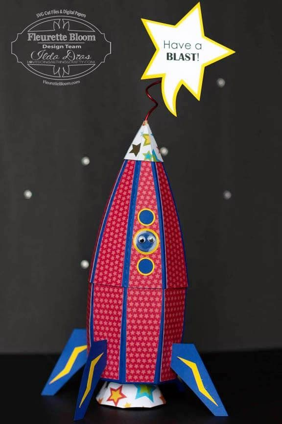 (I) (L)ove (D)oing (A)ll Things Crafty!: 3D Paper Rocket Ship Gift Box